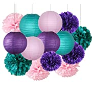 Furuix Under the Sea Party Decor/Purple Teal Pink Party Decorations Purple Teal Paper Pom Pom Paper Lanterns Little Mermaid Party Decorations/Mermaid Bridal Shower Decor
