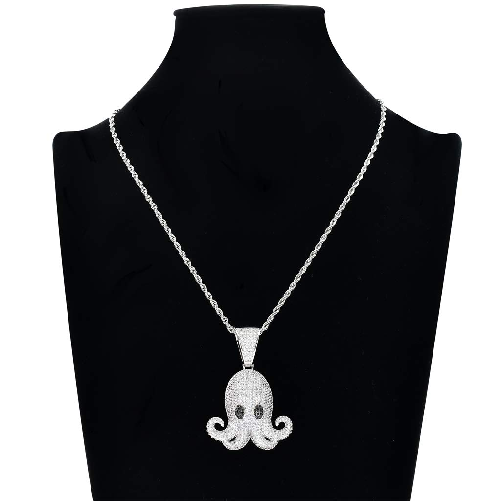 FIZZENN Hip Hop Octopus Cartoon Figure Iced Out Pendant with 60Cm Stainless Rope Chain Creative Necklace Chain for Men Women Kids