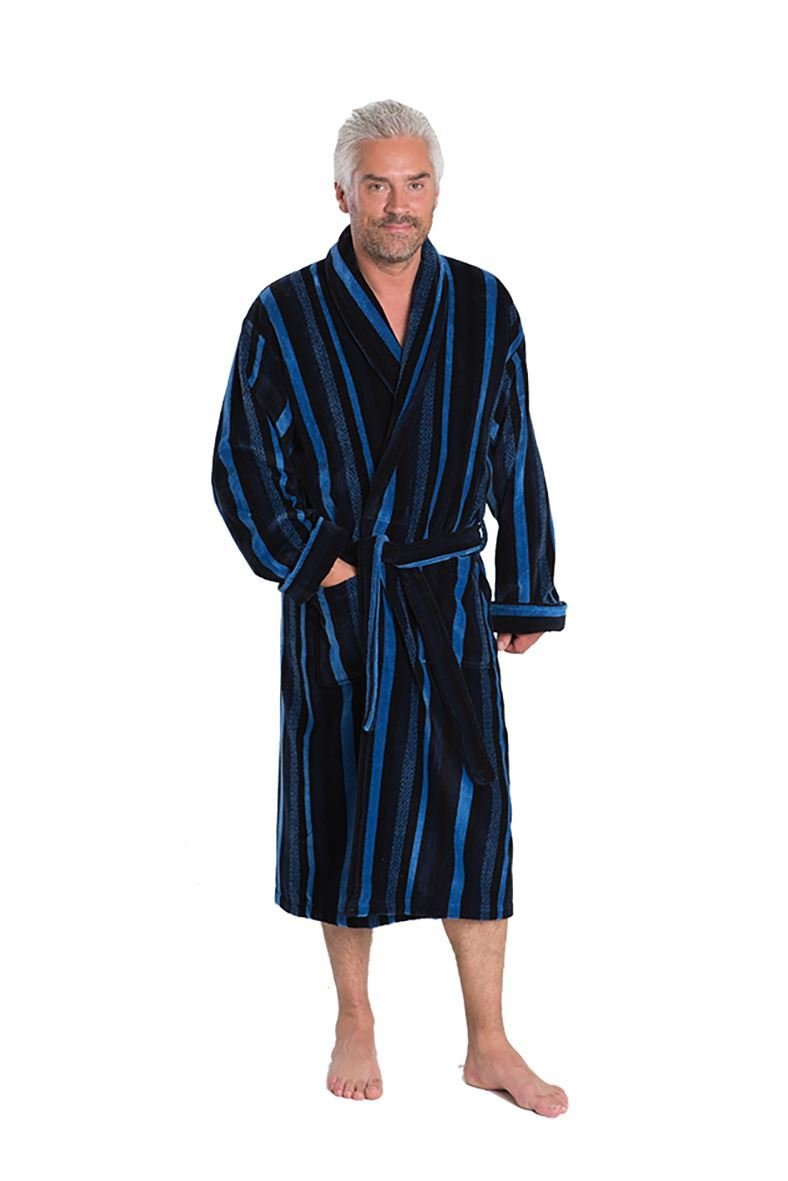 Mens Blue Label Luxury Egyptian Cotton Velour Gown With Double Cuff (Salcombe) in Navy/Royal in XL