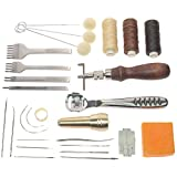 BIGTEDDY - Leather Craft Basic Stitching Sewing Hand Tool Set Saddle Groover for DIY Leathercraft Projects