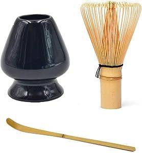 shangmu Matcha Green Tea Whisk Set Bamboo Whisk + Bamboo Scoop + Ceramic Whisk Holder for for Traditional Japanese Tea Ceremony (Black) ¡