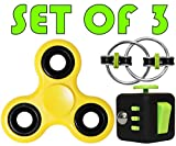 NEW Set -Three Stress Reducer Bearing - Fidget Spinner Toy - Fidget Cube - Ring Toys EDC Focus for Kids & Adults - Best Stress Reducer Relieves