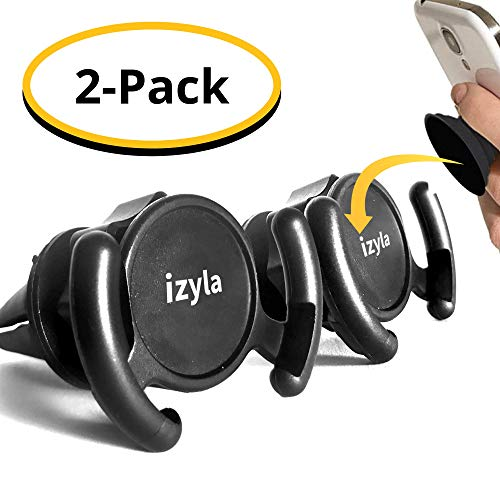 izyla Pop Socket Car Mount for Cell Phone [2 Pack] - Pop Socket Holder Air Vent designed for Android or iPhone with Pop Clip | Sturdy Car Vent Mount with 360 Grip & Lock for GPS Navigation [2 Mounts] (Tilt Vent Mount)