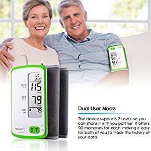 Blood Pressure Monitor, Fully Automatic Upper Arm Digital BP Meter with Built-in Cuff (22 To 32) for Pulse Rate and Heart Rate Detection (Battery and Storage Bag Included)