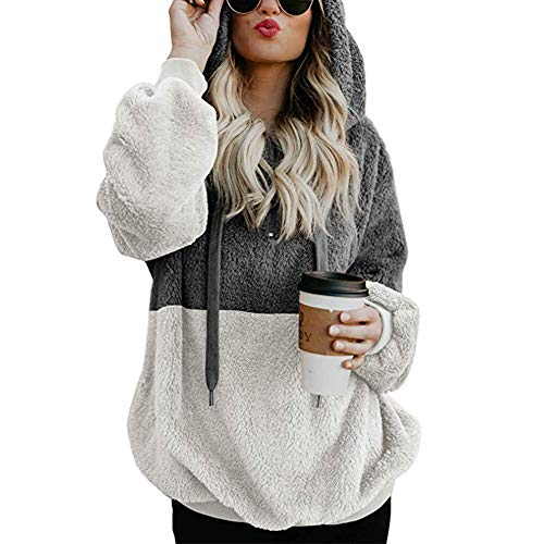 Women's Thicken Fashion Zip Pocket Romper Blouse Plush Sweater Pullover Hoodie Sweatshirt Suit for Autumn and Winter Dark Gray