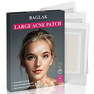 Acne Pimple Master Patch, Large Acne Patches Hydrocolloid Spot Treatment, Acne Dots, Pimple Stickers,12 Strips, Invisible, Tea Tree oil, Zit Patch