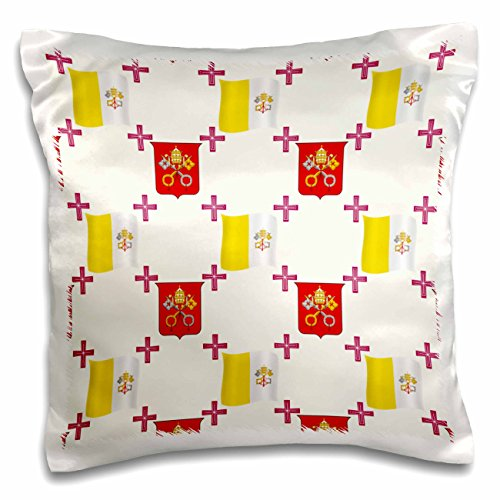 777images Country Patterns - The flag and Coat of Arms of the Vatican City State on a light creme background - 16x16 inch Pillow Case (pc_114180_1)