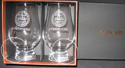 Laphroaig Islay Crest Scotch Whisky Glencairn Two Glass Boxed Set with Two Watch Glass Covers