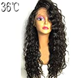 PAFF Brazilian Lace Front Human Hair Wigs for Black Women Kinky Curly Virgin Hair Wigs Glueless Full Lace Human Hair Wigs With Baby Hair Natural Hairline Pre Pluked (16inch, full lace wig)