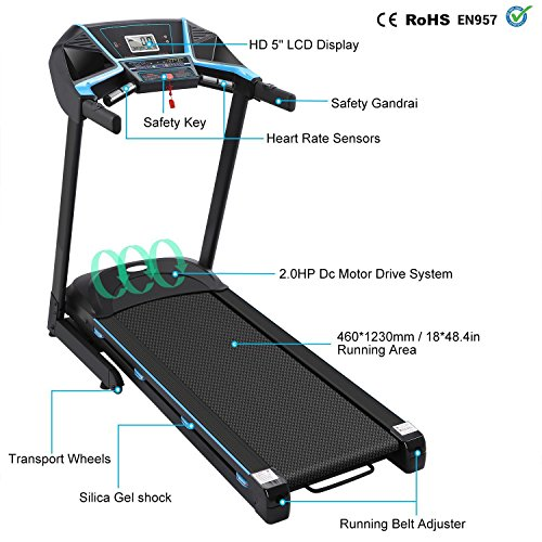 PTATAO Electric Treadmill Foldable Heavy Duty Walking Treadmill Motorized Running Machine with Rolling Wheels
