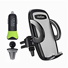 Car Phone Holder Universal Smartphone Car Air Vent Mount Holder and 4.8A USB Car Charger for iPhone X 7 6 6S 8 Plus,5 SE 5S 5 5C,Galaxy S8 S7 S6 Edge,Note 8 4,Google,HTC, LG and More,WinElec (Black)