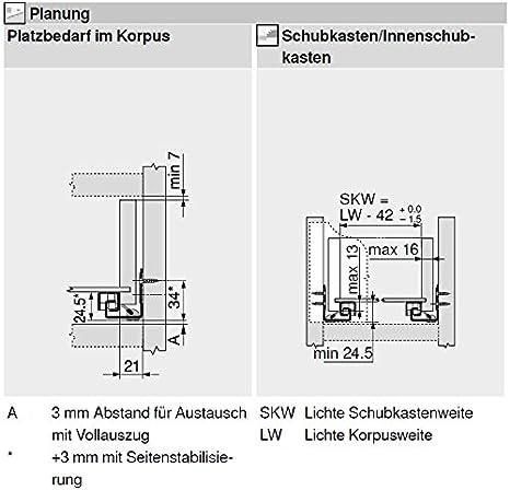 30 kg NL=400mm BLUM 6251252 TANDEM plus BLUMOTION Vollauszug 560H4000B 400 mm