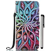 iPhone SE 5S 5G Case Stand Wallet Purse Credit Card ID Holders Magnetic Design Flip Folio TPU Soft Bumper PU Leather Ultra Slim Fit Cover for iPhone SE 5S 5G Spread Flower