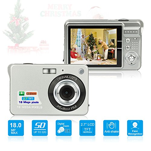 HD Mini Digital Camera with 2.7 Inch TFT LCD Display,Kids Childrens Point and Shoot Digital Video Cameras Silver–Sports,Travel,Holiday,Birthday Present