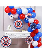 PartyWoo Red Blue and White Balloons, 66 pcs 12 Inch Red Balloons White Balloons Royal Blue Balloons for Captain America, Spider Man, USA Party, the Avenger Party including Paper Pom Poms