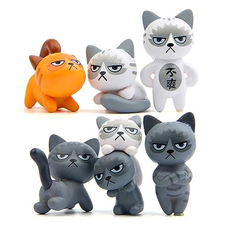 Wudi 6pcs / Set Creativo Llavero infeliz Gato Llavero de Coches Decoración Colgante de Regalo para el Amante del Gato