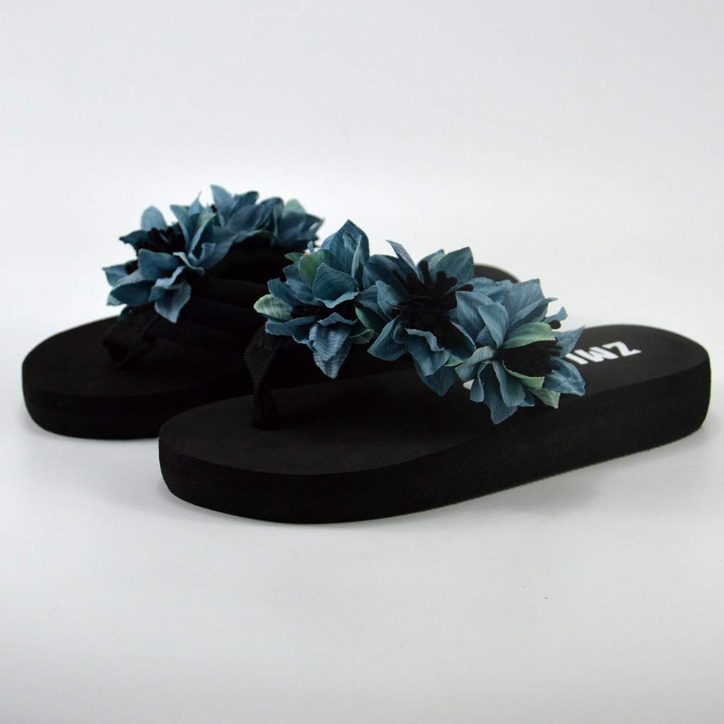 {Minikoad}Women Flat Bottom Sandals,Ladies Beach Flip Flops Shoes Muffin Home Bathroom Shoes (US:6, Blue) by Minikoad Sandals (Image #1)