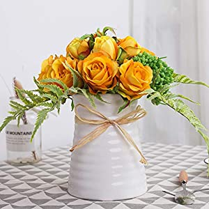 YUYAO Artificial Flowers Rose Bouquets with Vase Fake Silk Flower with Ceramic Vase Modern Bridal Flowers for Wedding Home Table Office Party Patio Decoration (Sunset)