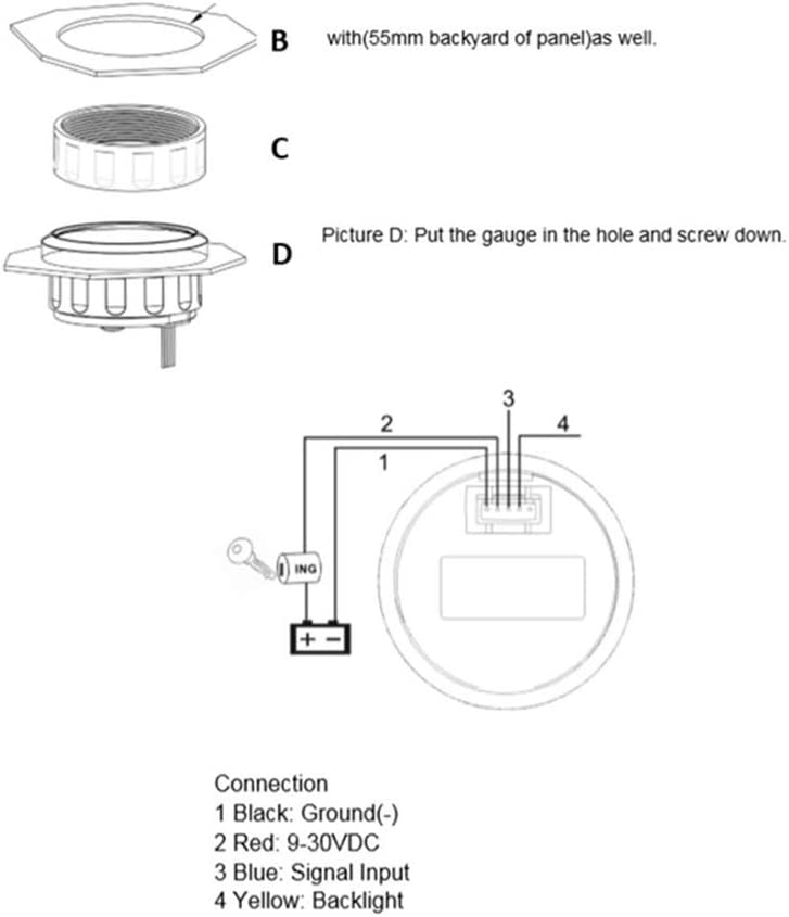 H HILABEE 52mm LED Manom/ètre Jauge de Pression de Carburant//Huile 9-32V DC Imperm/éable Bateau Yatch