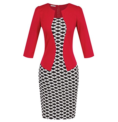 Style Cropped Carreaux Crayon Dress Slim OL Robe Red Weekendy Jupe Robe de Sleeve Ceinture FAZw55zq