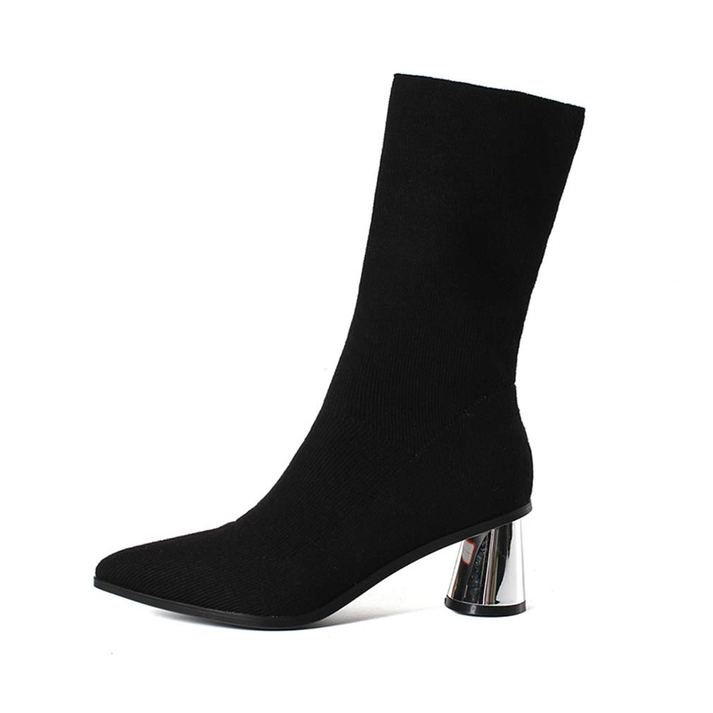 A Women's Fashion Boots, Elastic Boots Pointed High Heel Ankle Boots Wedding Party & Evening Formal Dress shoes (color   B, Size   36)