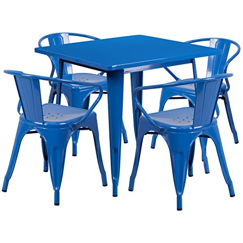 MFO 31.5'' Square Blue Metal Indoor-Outdoor Table Set with 4 Arm Chairs