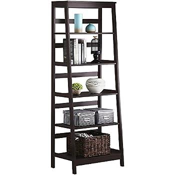 Walnut Five Tier Leaning Ladder Book Shelf