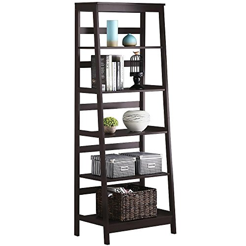 Topeakmart 5 Tier Wood Leaning Ladder Shelf Bookcase/Bookshelf in Espresso Finish