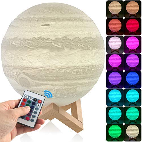 Lighting Night Led 3D Printing Jupiter Lamp Lighting 5.9 Inch, Dimmable Remote Control 16 Colors LED Jupiter Light with USB Charging, Rechargeable Home Decorative Light ()
