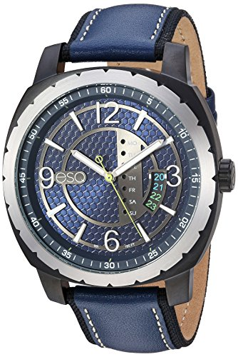 ESQ Men's Quartz Stainless Steel and Leather Casual Watch, Color:Blue (Model: 37ESQE11201A) - Esq Quartz Watch