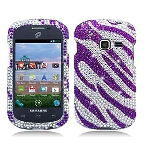 For Samsung Galaxy Discover S730g / Galaxy Centura S738c (Straight Talk/Net 10/Tracfone) Luxury Full Diamond, Zebra Purple+White