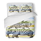 SanChic Duvet Cover Set Boy Animals Hand Drawn Artwork Graphic Wild Africa Alligator Beautiful Decorative Bedding Set Pillow Sham Twin Size