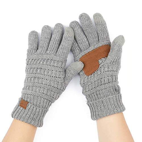 C.C Exclusives Unisex Knit Thick Warm Soft Stretch Fuzzy Lined Solid Ribbed Glove with Smart Tips (G-25) (LT. Mel Grey)