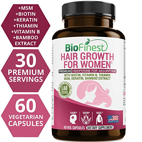 Cheap Biofinest Hair Growth Supplement – Vitamins for Natural Longer, Stronger, Healthier, Frizz-Free, Keratin Rich Hair – with Vitamin B, Biotin, Thiamin – for All Hair Types (60 Capsules) (Women)