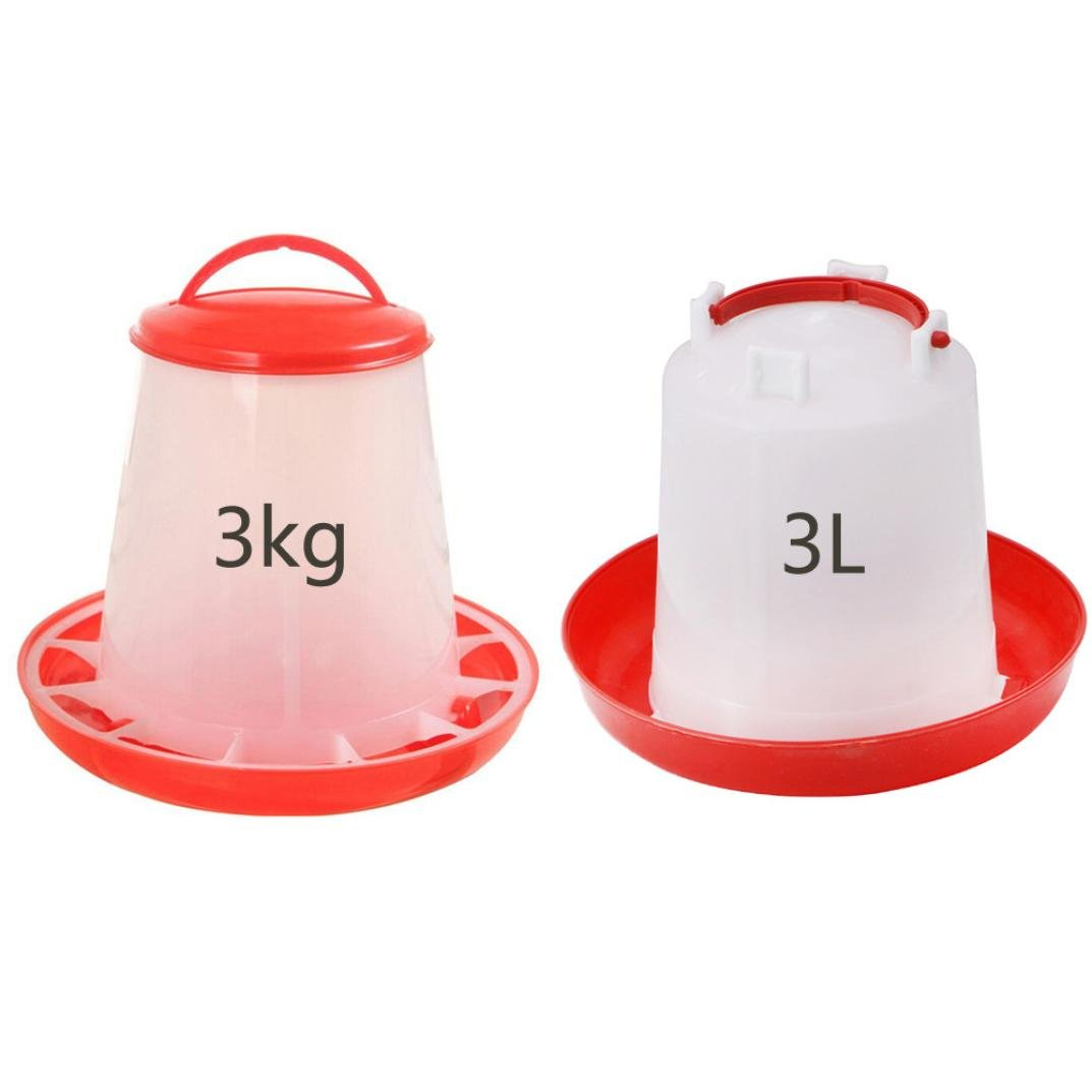 Chicken Feeder Waterer Set, Sacow Automatic Feeder Drinker for Poultry Chick, Plastic Poultry Feeding Equipment