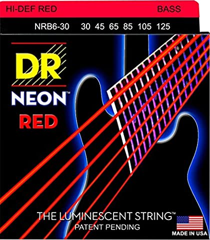 DR Strings Hi-Def NEON Red Coated Medium 6-String Bass Strings (30-125) (Dr Bass Guitar Strings For 6)