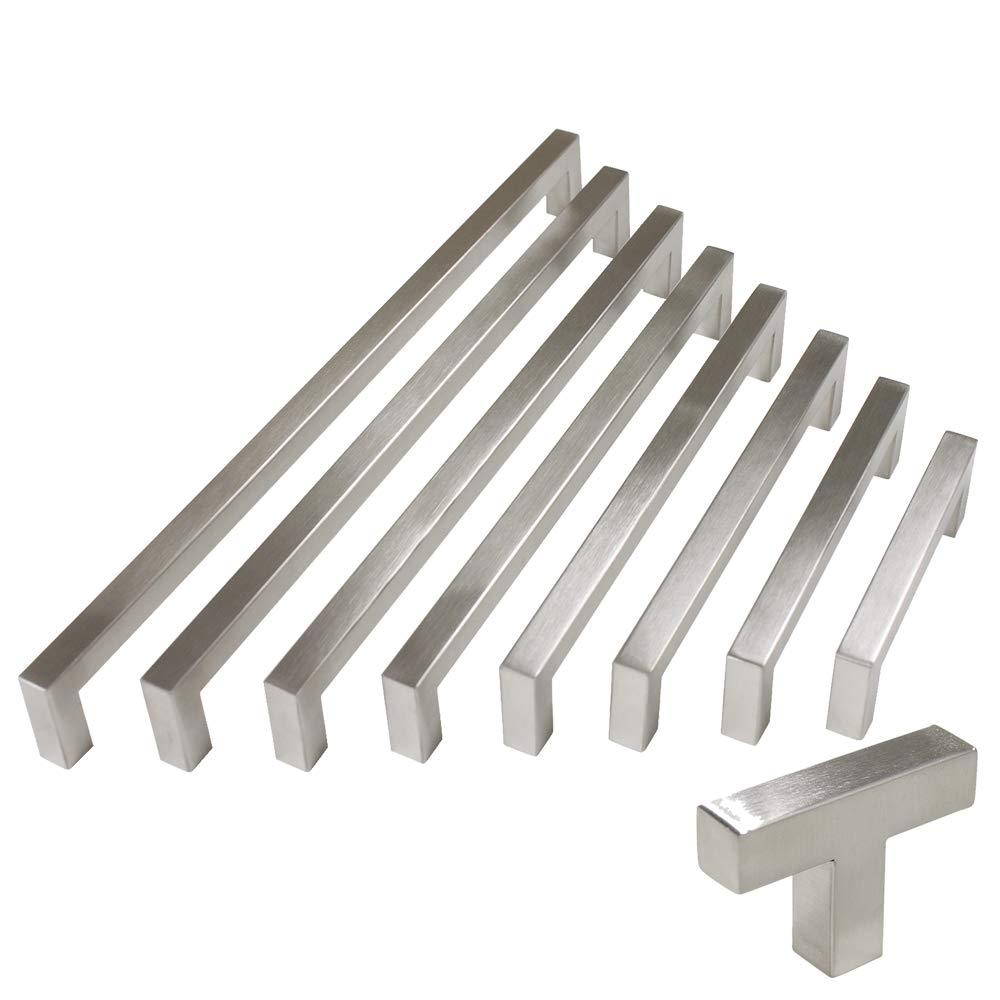 10 pack Probrico 1/2 in Stainless Steel Square Corner Bar Kitchen Cabinet Door Handles Brusehd Satin Nickel Hole Centers 3-3/4 inch 96mm