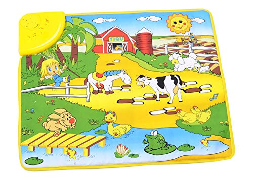 (Gbell Toddler Music Play Mat,Happy Farm Singing Dancing Musical Mat Games Educational Floor Carpet Toys for Kids Baby Infants Girls Boys 1 2 3 4 5 Years Old Gift,49 x 59CM (Multicolor))