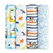 aden + anais Disney Classic Swaddle Baby Blanket, 100% Cotton Muslin, Large 47 X 47 inch, 4 Pack, Jungle Book