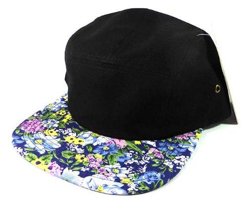 Dutch Wholesale Flower (5 Panel Floral Camp Hats Caps Fashion - Black | Blue Flowers)