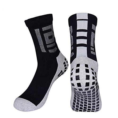 LANSHI Men's Non Skid Grip Socks Hospital Socks Silicon Gripper Sole for Class Home Bascketball Football Soccer Running