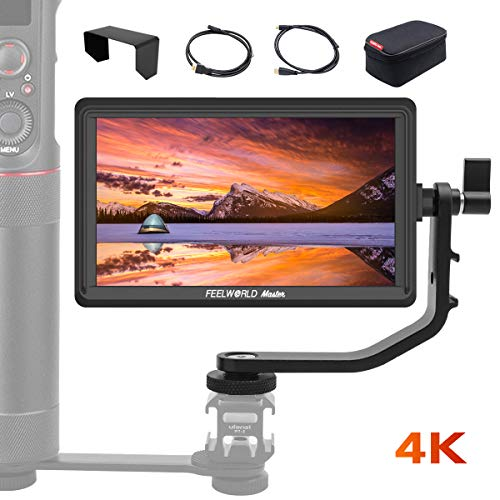 Feelworld Master MA6P DSLR Monitor with 4K HDMI 8.4V DC in/Out, 5.5 Inch Camera Field Monitor Full HD 1920x1080 Peaking Focus Assist Tilt Arm Included