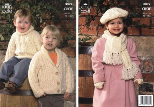 Hooded Jacket /& Coat King Cole Aran Knitting Pattern 3098 Sweater