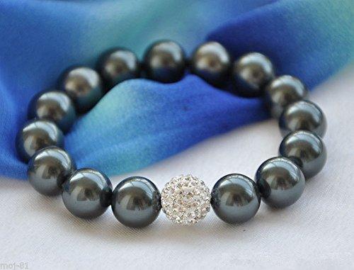 Genuine 12mm Black South Sea Shell Pearl Round Beads Bracelet 8'' AAA+