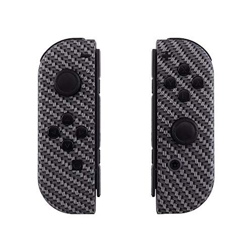 eXtremeRate Soft Touch Grip Black Silver Carbon Fiber Joycon Handheld Controller Housing with Full Set Buttons, DIY Replacement Shell Case for Nintendo Switch Joy-Con - Console Shell NOT Included Design Case Carbon Fiber Faceplate