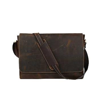 """COWOCC Carteras de cuero Hombres 15.6""""Bolsa de ordenador portátil Vintage Brown Diseñador de cuero"""