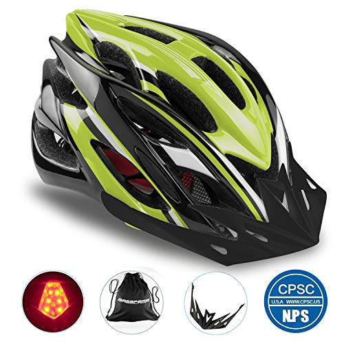 Basecamp Specialized Bike Helmet with Safety Light,Adjustable Cycling Helmet Bicycle Helmet with Removable Visor+Portable Backpack for Road&Mountain Men&Women,Youth Protection(Blackgreen-BigLight)