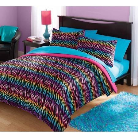 Your Zone Mink Rainbow Zebra Bedding Comforter Set - FULL/QU