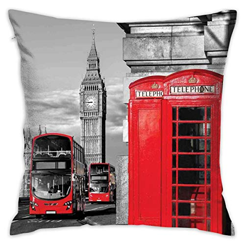 Decorative Throw Pillows Covers with Insert,London Telephone Booth In The Street Traditional Local Cultural Icon England UK Retro Theme,18x18 Inches Square Patio Cushions for Couch Bed Furniture (Furniture Uk Square Patio Covers)