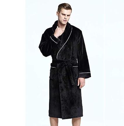 Invierno Bata De Baño Hombres Calentar Largo Bata De Kimono Algodón De Franela Ropa De Dormir